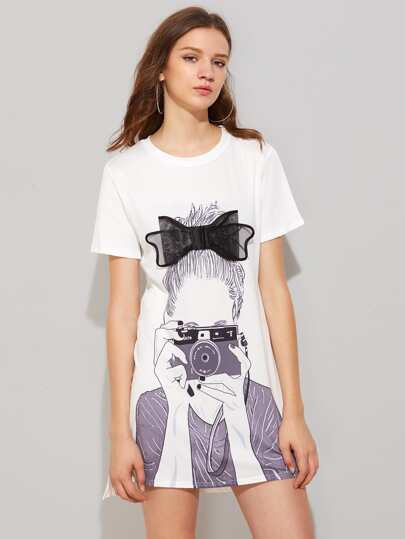 Girl Print Bow Detailed Dip Hem Tee Dress