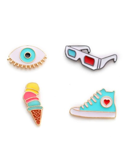 Glasses & Shoes Design Brooch Set