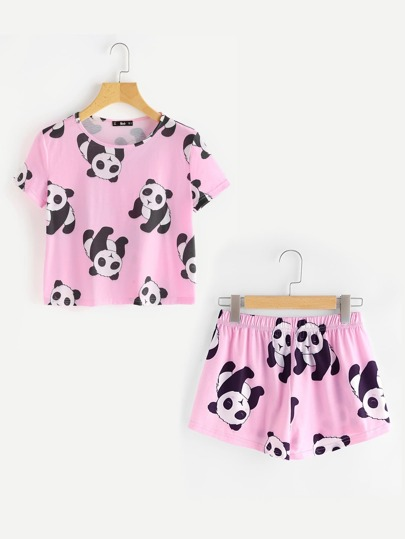 Panda Print Tee And Shorts Pajama Set