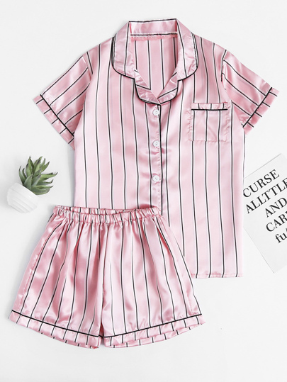 Pinstripe Revere Collar Satin Pajama Set