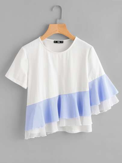 Tee-shirt manche asymétrique à volants à rayures