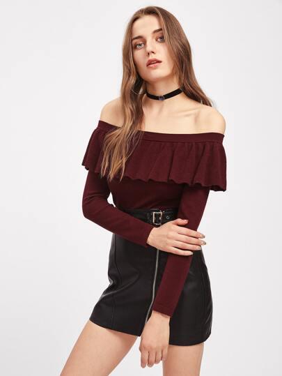 Bardot Pullover mit schößchem Saum