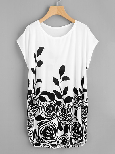 Dolman Sleeve Shirred Side Rose Print Tee