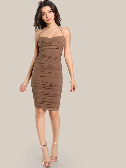 Front Knot Ruched Dress DARK MOCHA