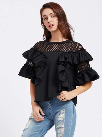 Eyelet Shoulder Exaggerate Frill Trim Top