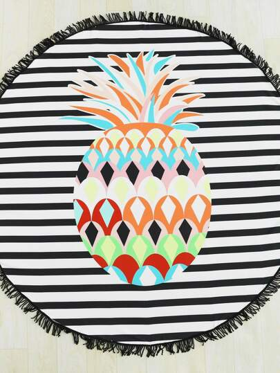 Pineapple & Striped Print Fringe Trim Round Beach Blanket