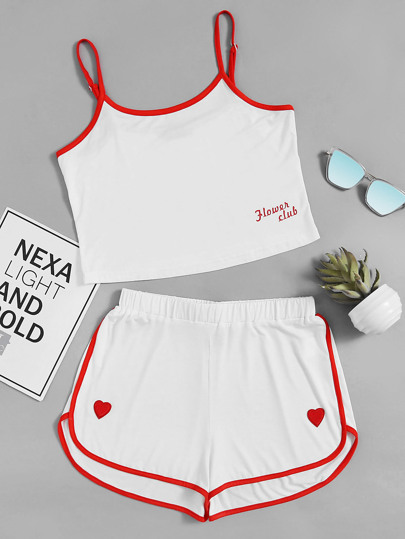 Contrast Binding Cami And Heart Patch Dolphin Shorts Set