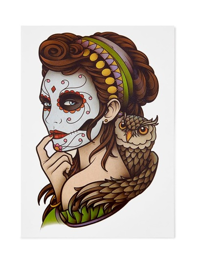 Etiqueta de tatuaje de dibujo de chica guapa