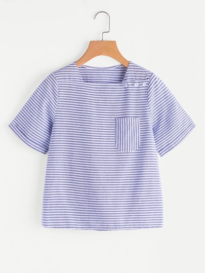 Contrast Striped Blouse With Button Detail
