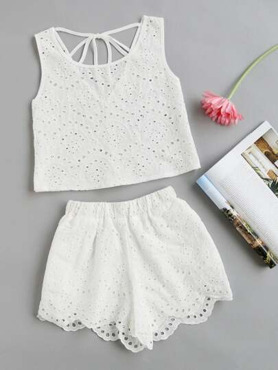 Embroidered Eyelet V Back Tank Top With Scallop Shorts
