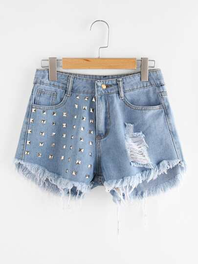 Studded Ripped Frayed Hem Denim Shorts