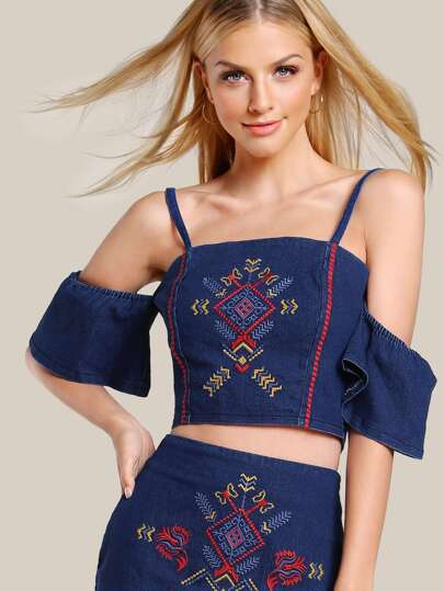 Embroidered Bardot Sleeve Crop Top DENIM