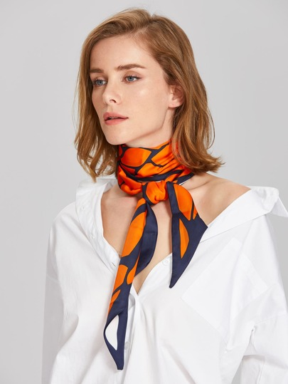 Graphic Print Skinny Scarf