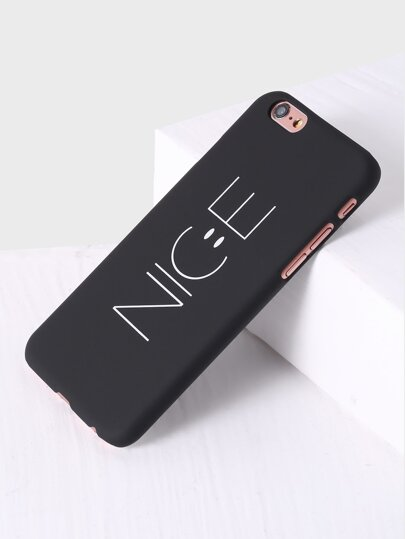Funda para iphone con estampado de letra - negro