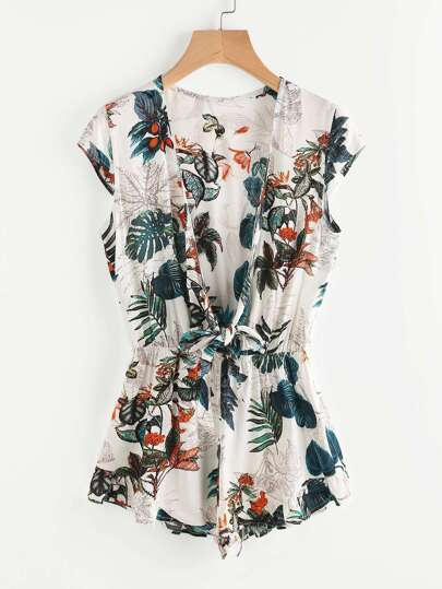Plunge Tied Front Elastic Waist Tropical Romper