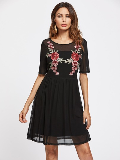 Flower Embroidery Patch 2 In 1 Dress