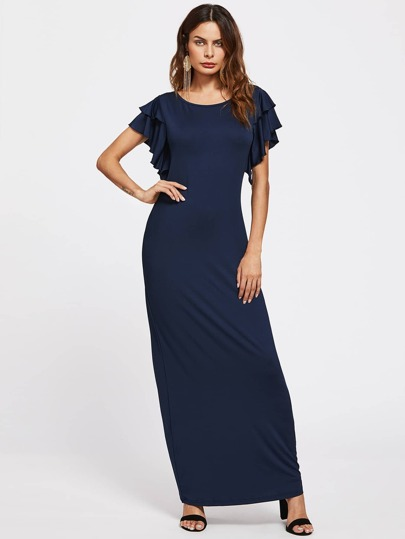 Tiered Ruffle Sleeve Full Length Dress