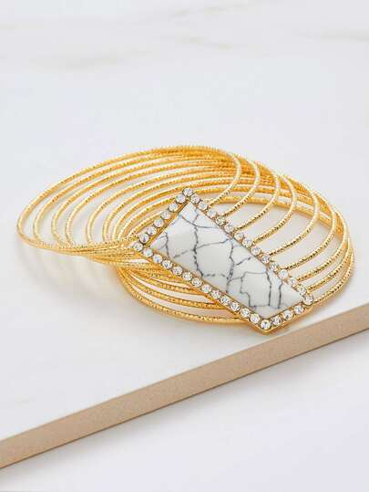 Geometric Rhinestone Decorated Layered Bracelet