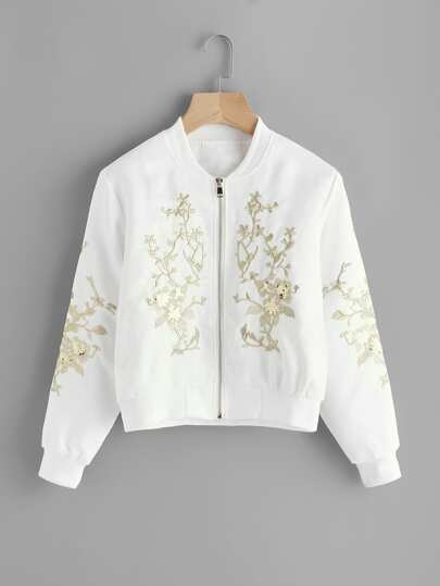 Flower Embroidered Sequin Detail Ribbed Trim Jacket