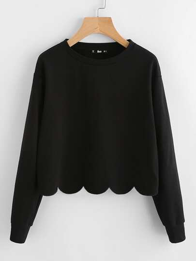 Drop Shoulder Scallop Hem Sweatshirt