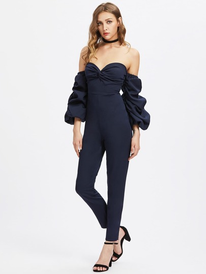 Sweetheart Ruched Sleeve Backless Jumpsuit