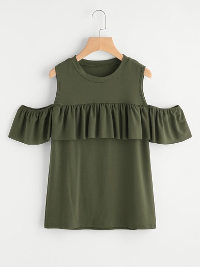 Open Shoulder Frill Trim Tee