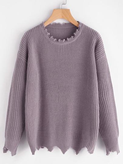Ungesäumter Pullover mit sehr tief angesetzter Schulterpartie