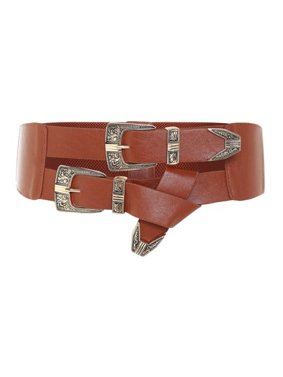 Double Buckle Knot Detail Belt