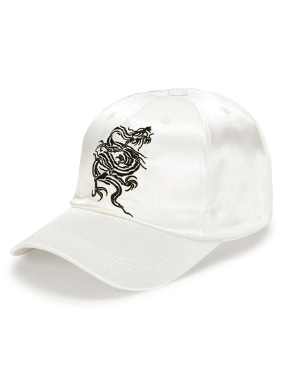 Embroidery Dragon Satin Baseball Cap