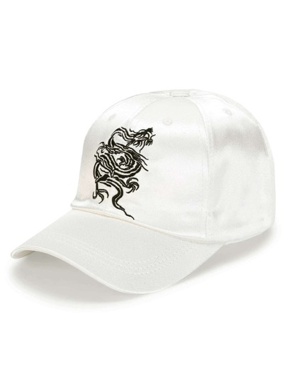 Casquette de base-ball en satin brodée du dragon