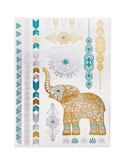 Elephant Pattern Tattoo Sticker