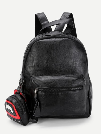 Double Zipper Design PU Backpack With Pendant