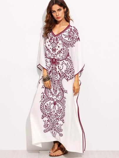 Contrast Binding Batwing Sleeve Kaftan Dress