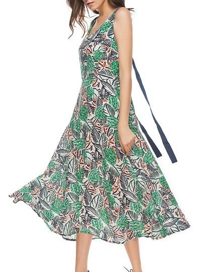 Allover Leaves Print Ribbon Detail Swing Dress