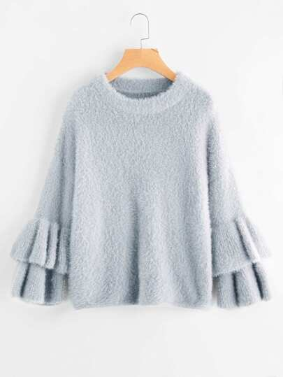 Layered Trumpet Sleeve Fluffy Jumper