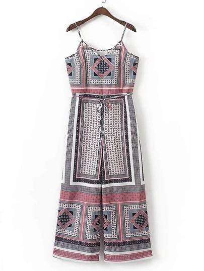 Geometric Print Tie Waist Jumpsuit