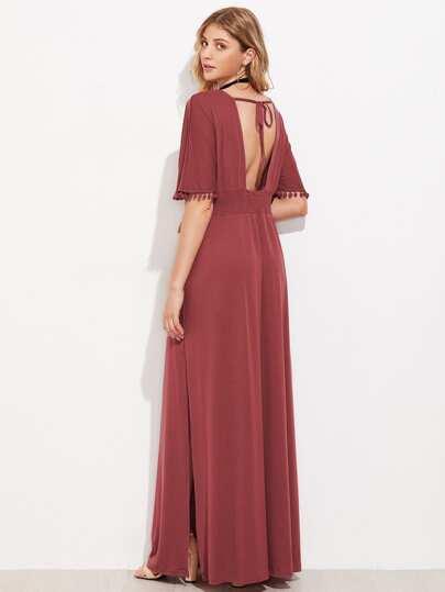 Open Back Pom Pom Trim Slit Side Kaftan Dress