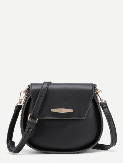 Studded Detail Flap Shoulder Bag