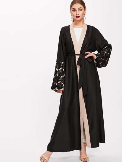 Contrast Floral Lace Detail Sleeve Self Tie Abaya