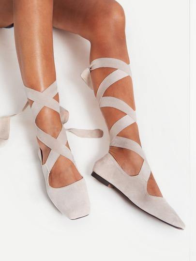 Square Toe Tie Leg Flats