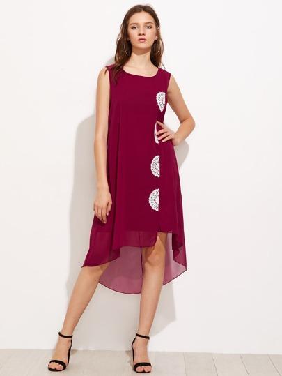 Contrast Crochet Appliques Dip Hem Chiffon Dress