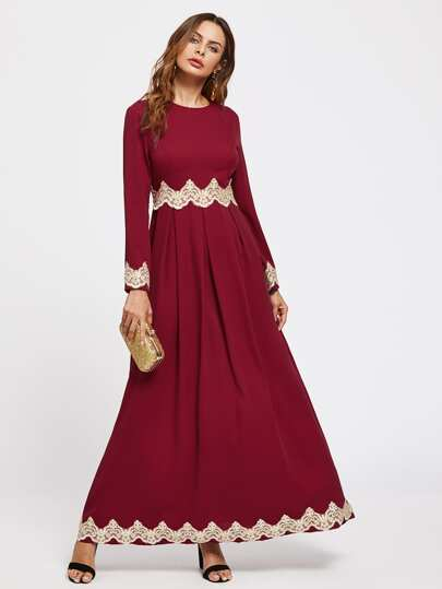 Lace Applique Box Pleated Kaftan Dress
