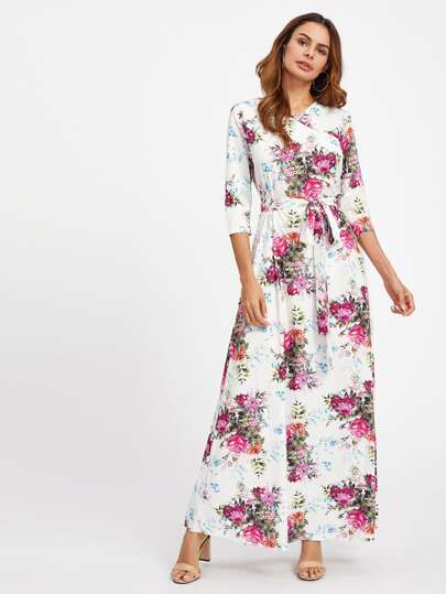 Allover Florals Surplice Neckline Self Tie Dress