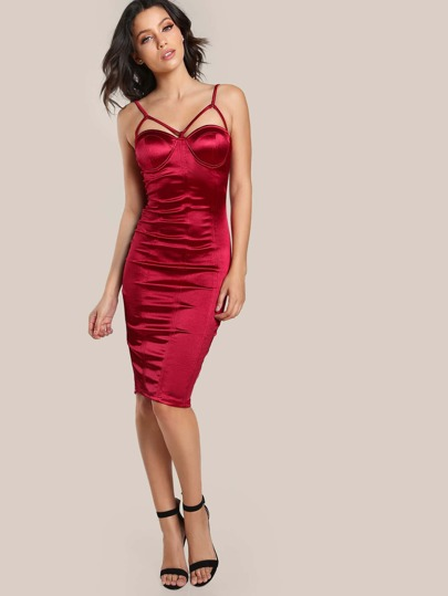Bustier Spaghetti Strap Bodycon Dress BURGUNDY