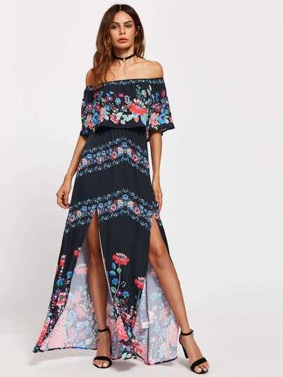Flounce Off Shoulder M-Slit Botanical Dress