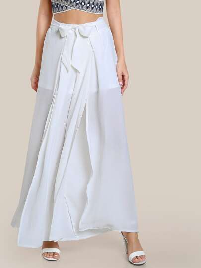 Shirred Flare Leg Pants IVORY