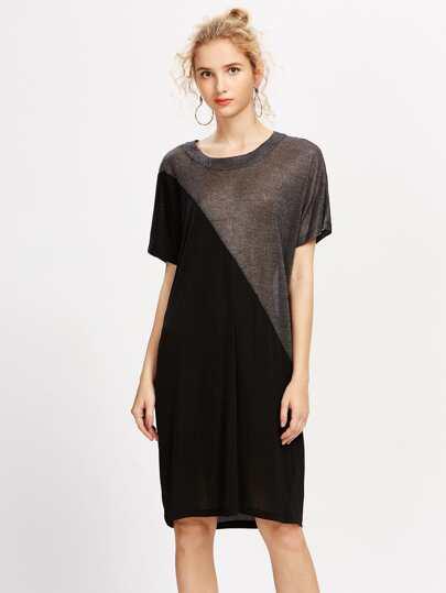 Dolman Sleeve Contrast Sparkle Tee Dress
