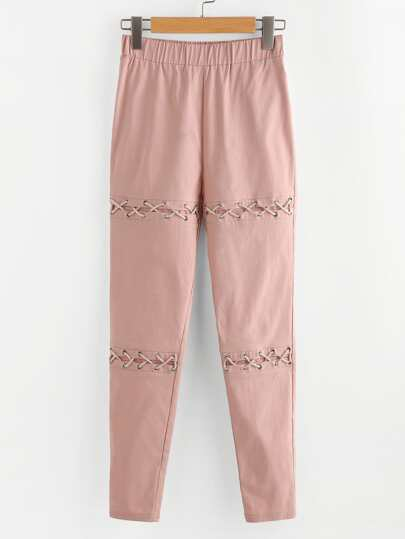 Eyelet Lace Up Detail Pants