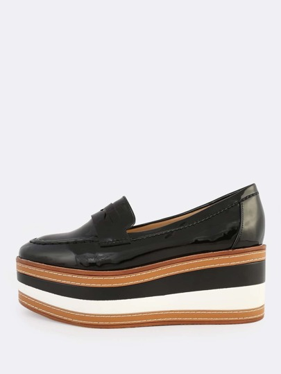Patent Loafer Flatforms BLACK