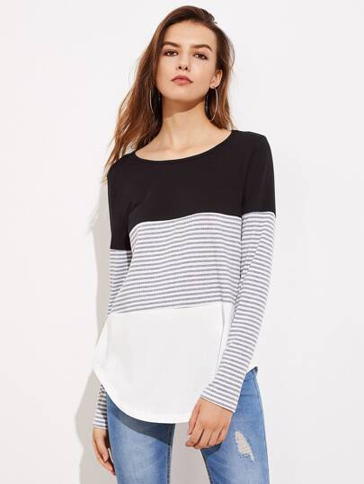 Striped Cut And Sew Curved Hem Tee